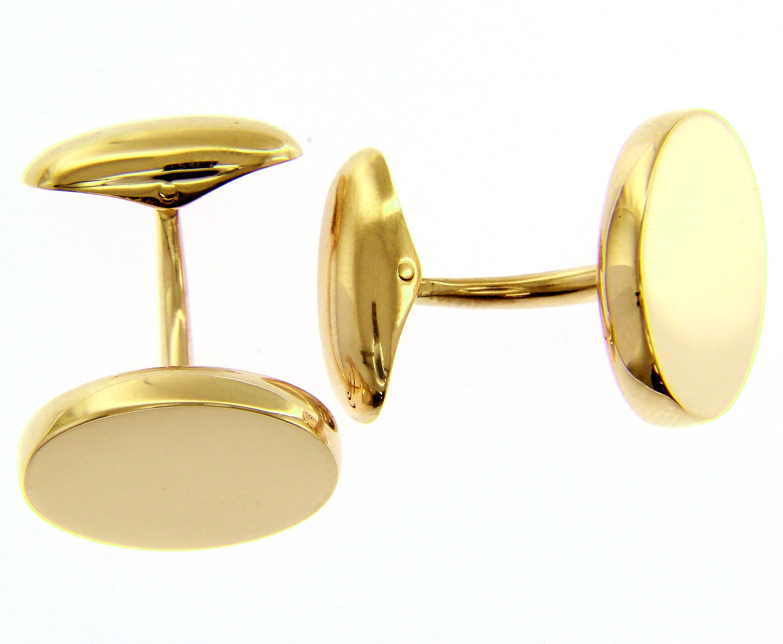 Stylish and elegant 18ct Yellow gold round Cufflinks.
