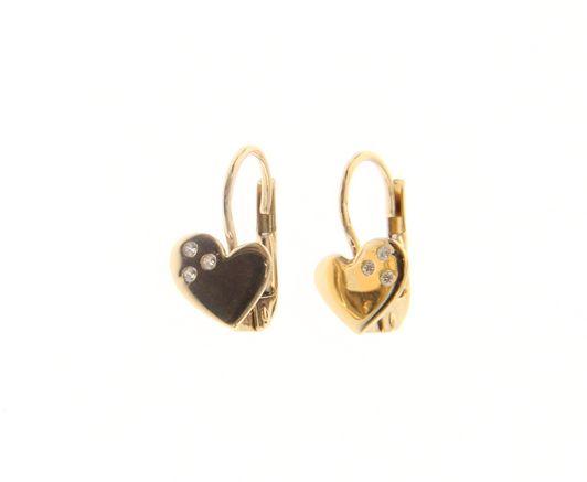 Beautiful 18ct Yellow Gold Babies Heart Earrings with Cubic Zirconia
