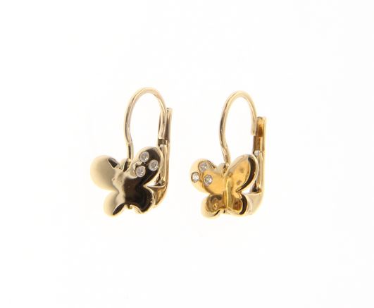 Beautiful 18ct Yellow Gold Babies Butterfly Earrings with Cubic Zirconia