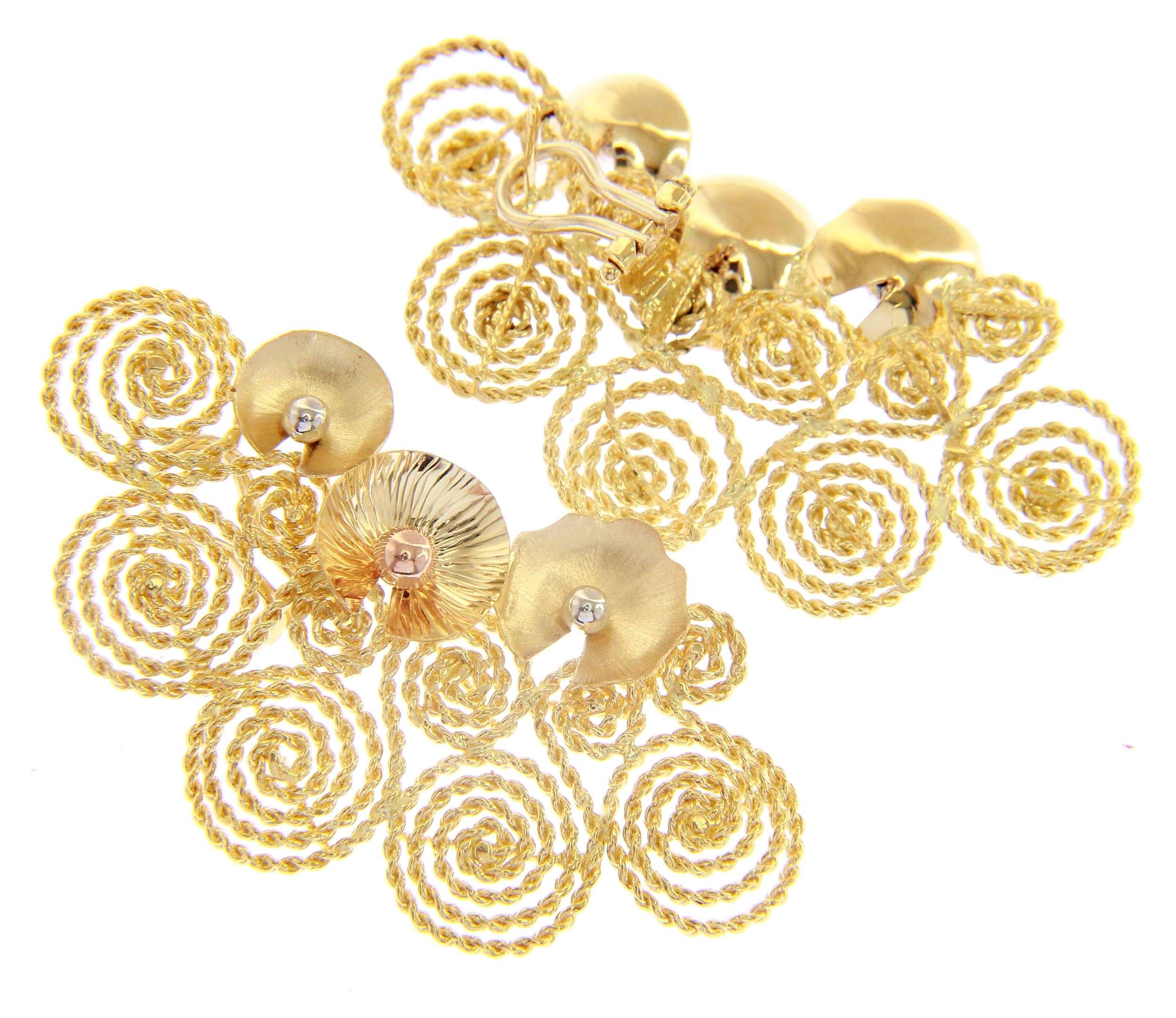 Beautiful 18ct Three Colours Gold Omega Clip Pendant Earrings