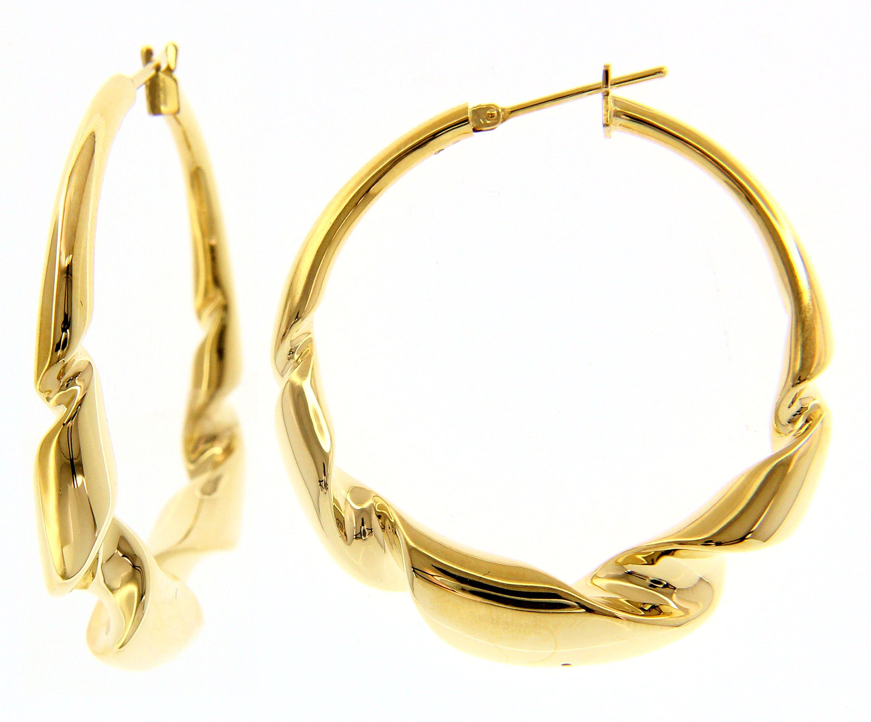 Beautiful 18ct Yellow Gold Twisted Hoop Earrings