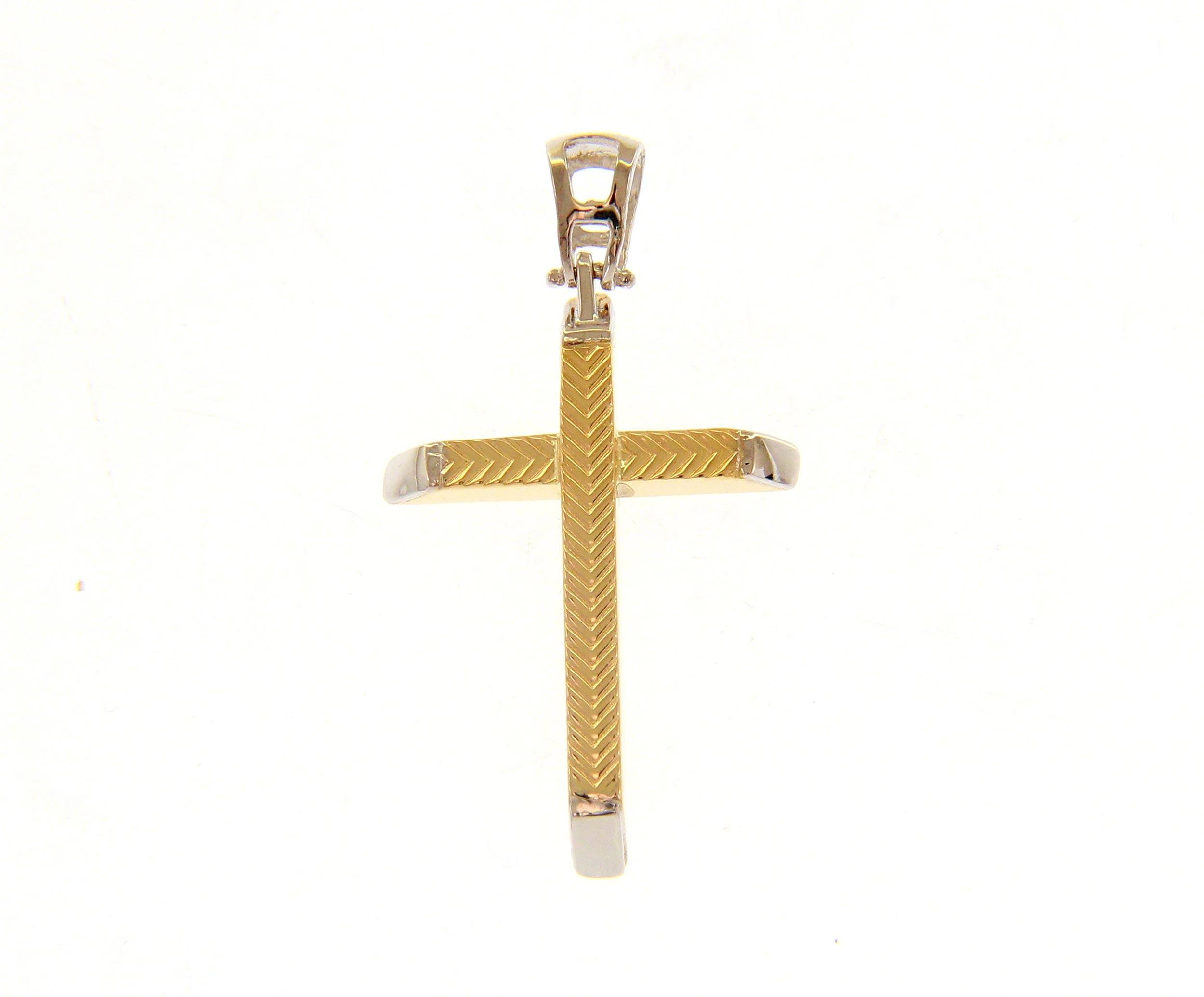 Beautiful 18ct Yellow And White Gold Cross Pendant
