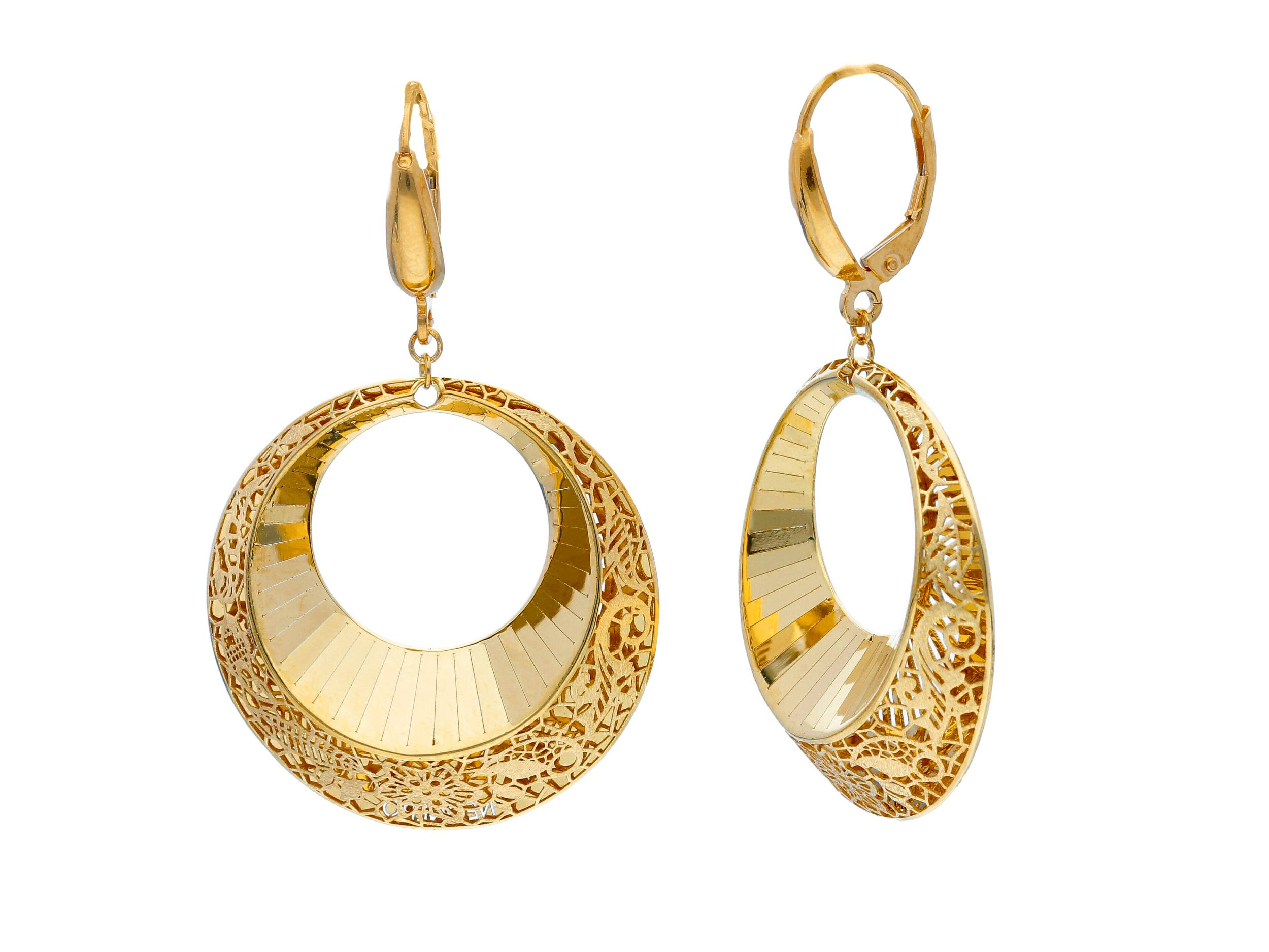 Beutiful18ct Yellow Gold Lever Back Pendant Earrings