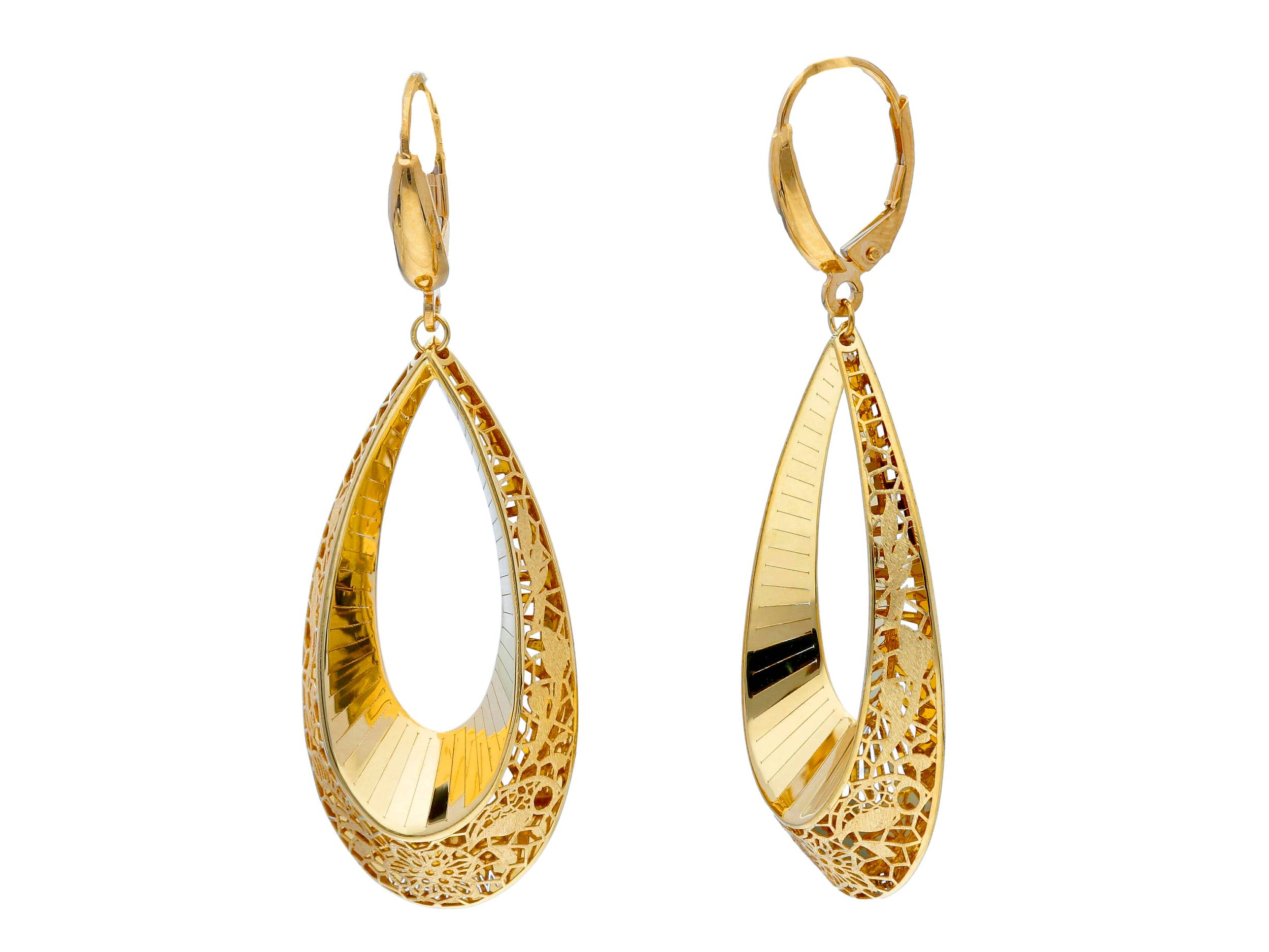 Beautiful 18ct Yellow Gold Lever Back Pendant Earrings