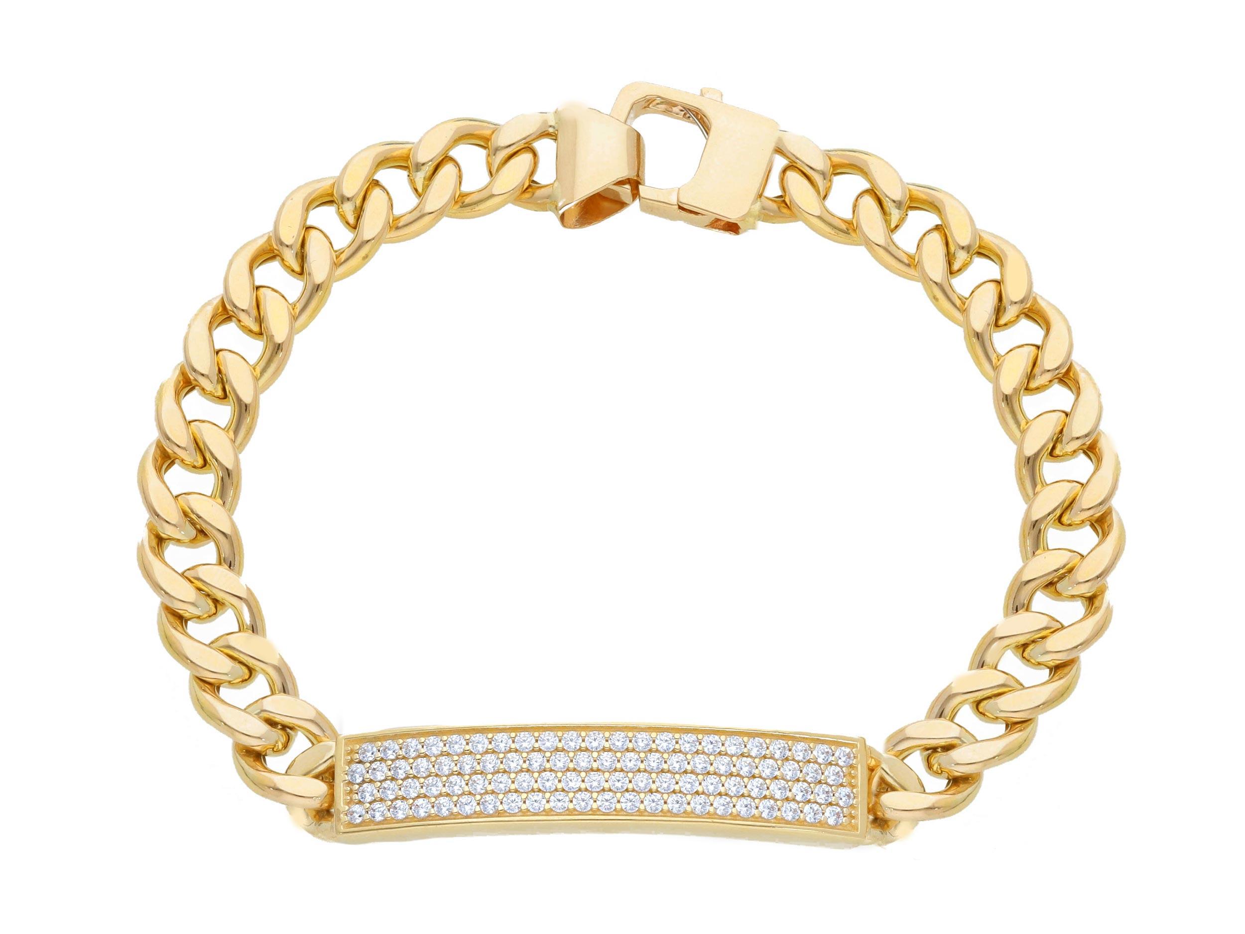 Stylish 18ct Yellow Gold Bracelet 21cm with cubic Zirconia