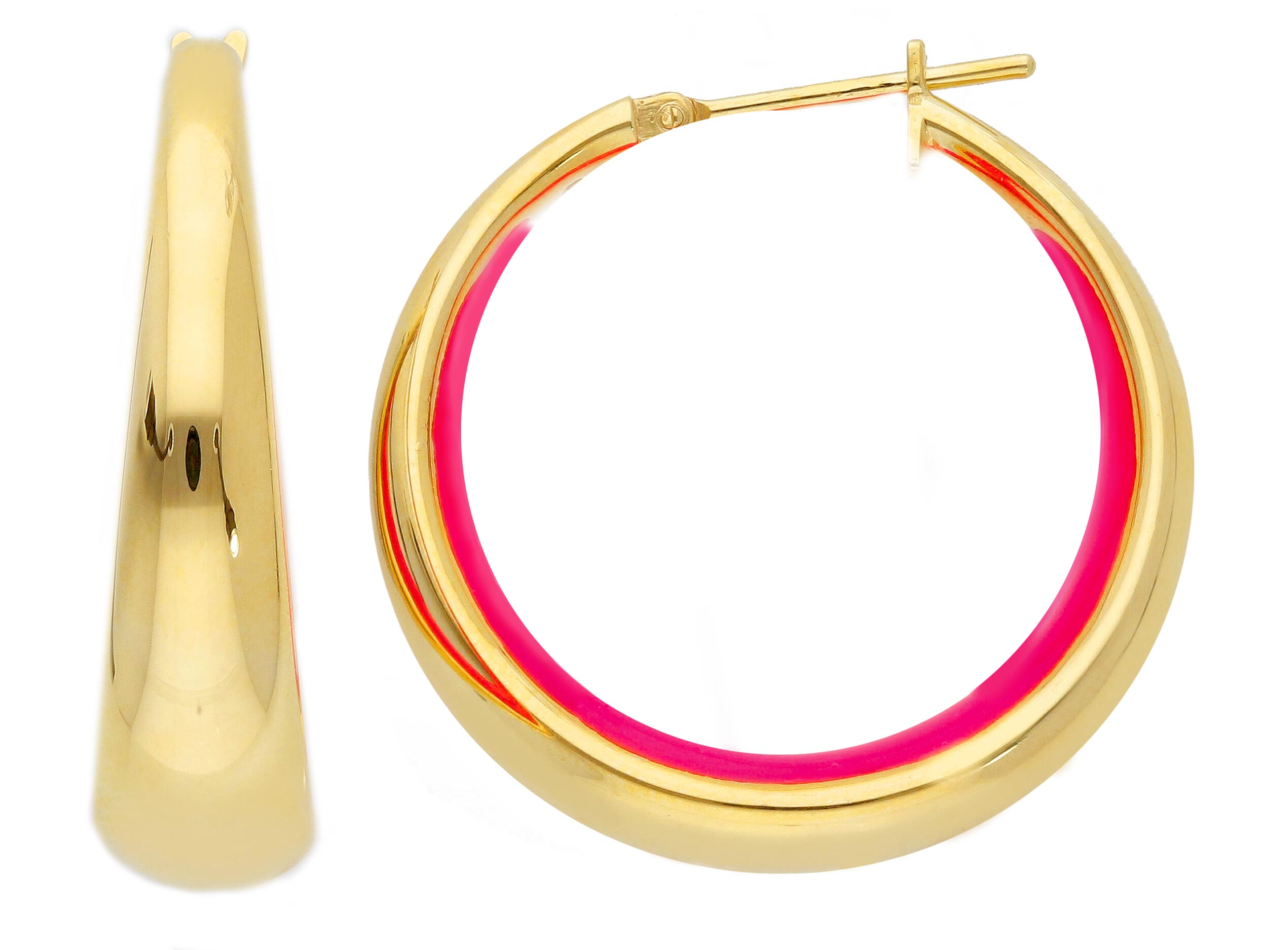 Beautiful 18ct Yellow Gold Hoop Earrings with Enamel. We have different colours of the enamel available . Contact us for more information about the colours of enamel, gold and stones in our shop.