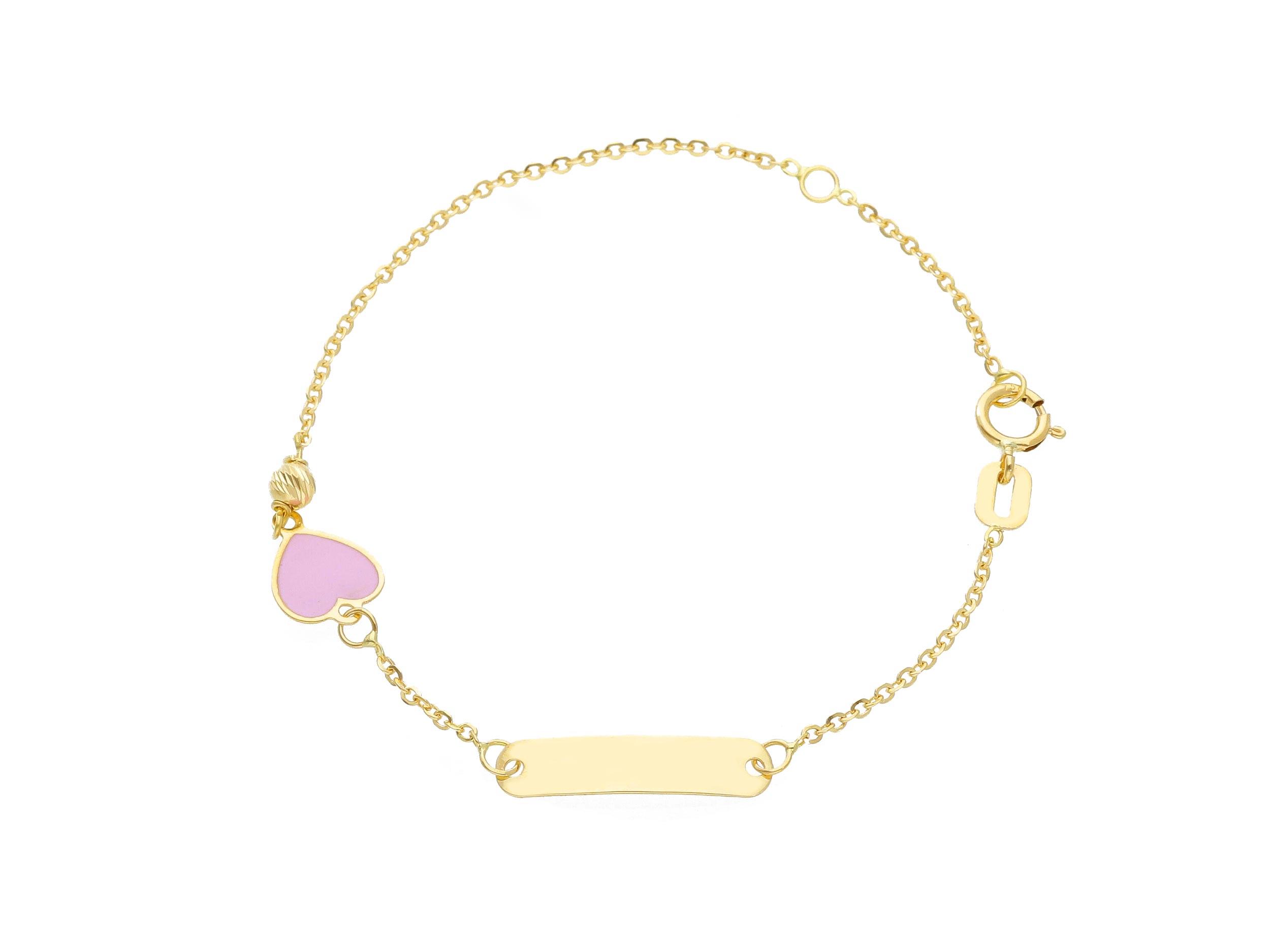 Cute 18ct Yellow Gold 14 cm Bracelet With Enamel